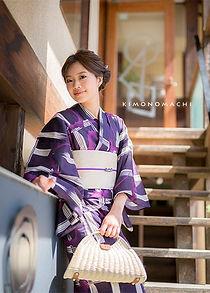 紫色 格子にコウモリ