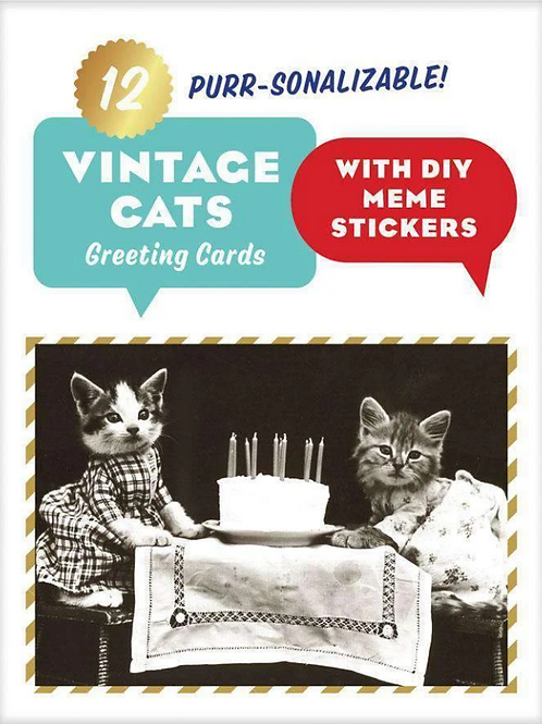Vintage Cat Memes DIY Greeting Cards