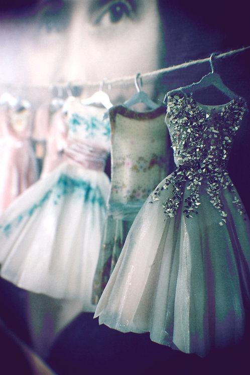 Miniature Handpainted Paper Dress