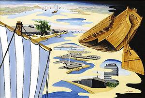 半田市教育委員会賞 「運河に生きる船頭為次郎」 M20 アクリル画/野田稔