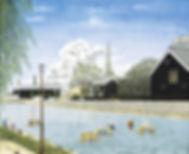 半田市長賞 「真夏の半六邸遠望」 F20 日本画/竹内政男