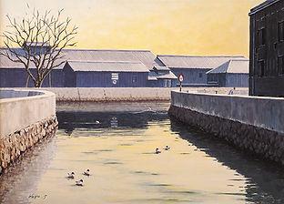 半田運河の会賞 「運河の朝」 P30アクリル画/篠田孝壽