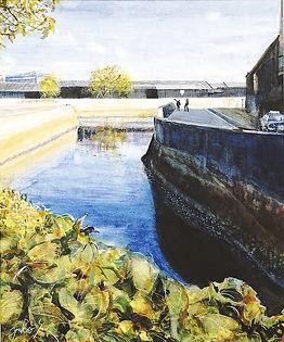半田運河の会賞 「河風景」 P20 水彩画/榊原裕子