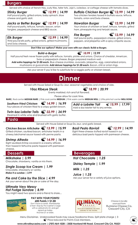Full House Bar and Grill Menu | Elk Valley Casino