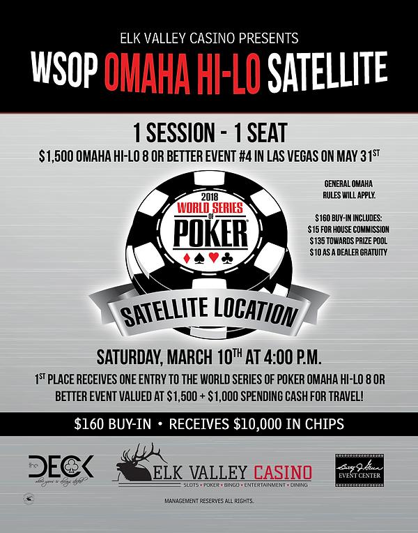 WSOP World Series of Poker World Championship Satellite Circut Elk Valley Casino