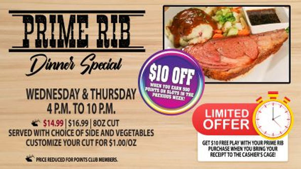 Prime Rib Dinner Special - March 2020 -
