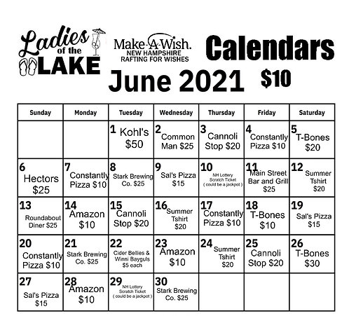 LOL Spring Calendar for Make a Wish NH
