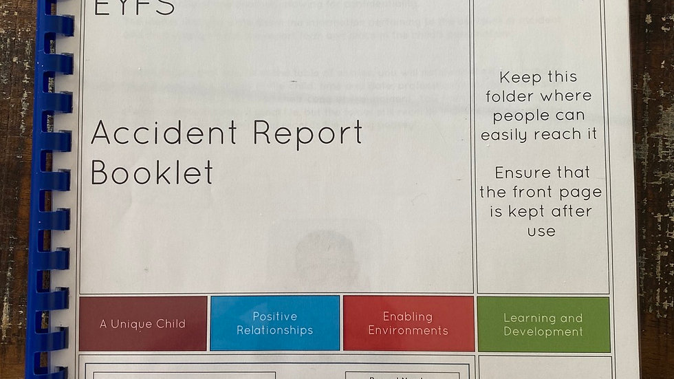 Accident and incident Record Booklet