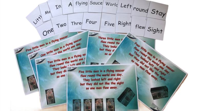 Laminated A4 Flying Saucer Nursery Cards
