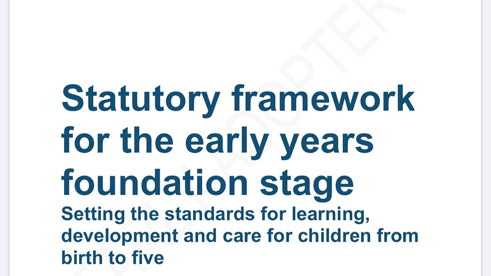 EYFS Framework 2020/21 A5 stapled bound Booklet Early Adopters