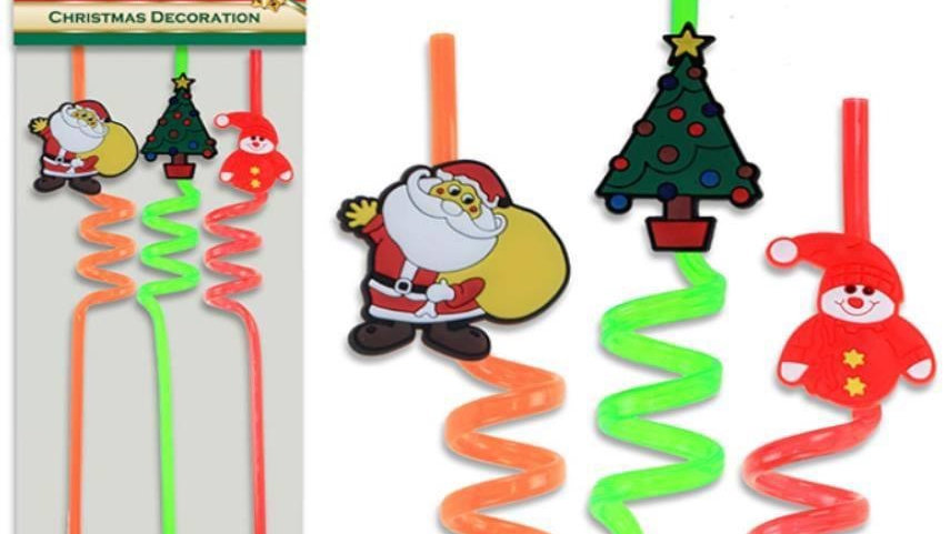 3 Pack Christmas straws
