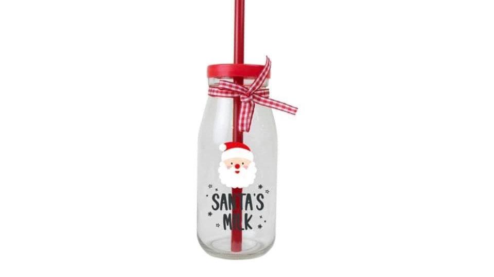 Christmas Glass Milk Bottles