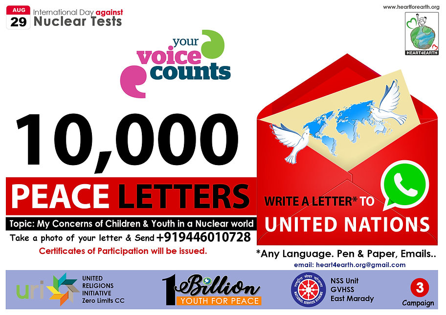 letter writing campaign Heart4Earth Foun