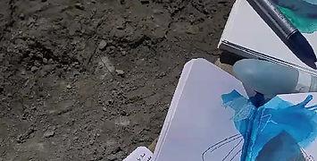 sketching at the foot of Gangapurna Tal