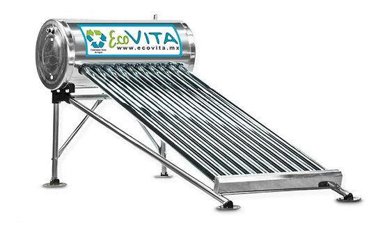 Calentador Solar de agua de 10 tubos con capacidad de 130 lts - Acero Inoxidable