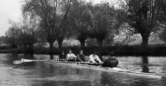 Members of BUBC rowing in the 1970s