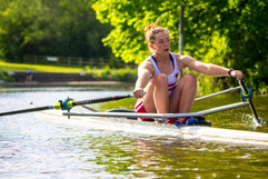 Sam Courty sculling in Bath