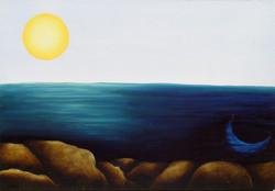 moon in the sea, sun above
