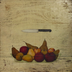 Bowl, fruits and knife