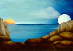 sun setting, moon rising