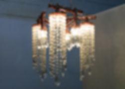 Triton I custom copper and crystal chandelier