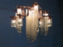 Manhattan copper and crystal chandelier