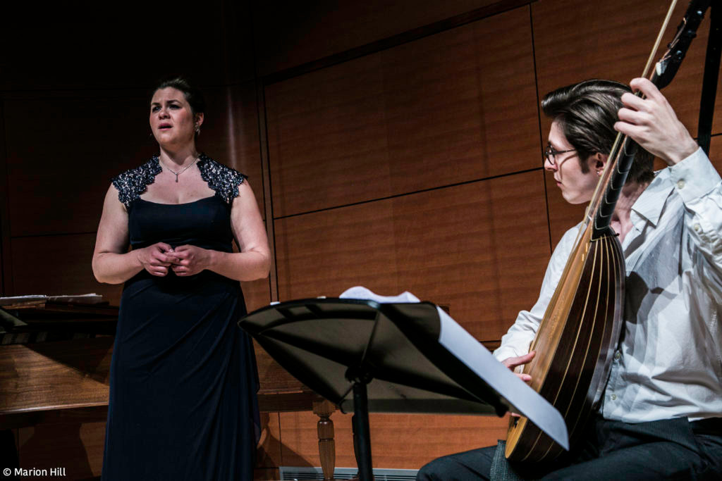 In recital with Brandon Jack Acker, theorbo. Photo by Marion Hill