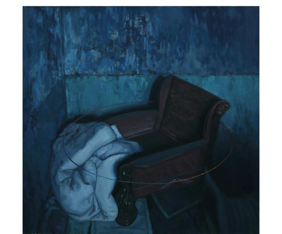 무지개가 둘린 의자. 2016. oil on canvas. 72.5 x 72.5 cm