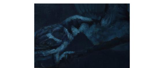 비린 지저귐 2. 2016. oil on canvas. 22.7 x 15.8 cm