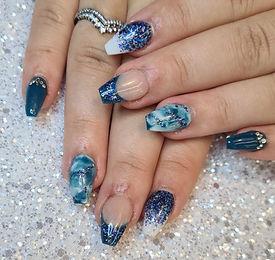 Acrylic Design Nails Blue