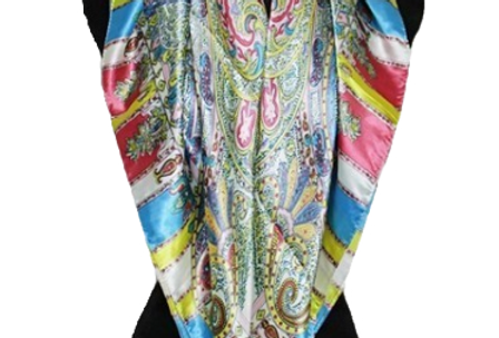 Multicolor Paisley Patterned Silk Felt Twill Square Scarf