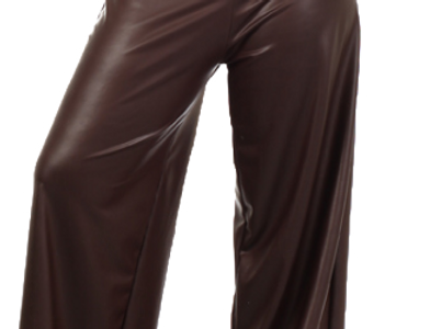 Faux Leather Pants w/High, Banded Waist