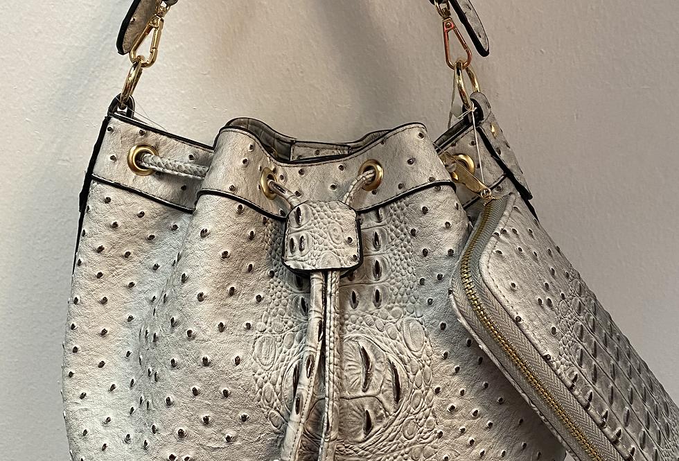 Ostrich Print Bag w/Wallet