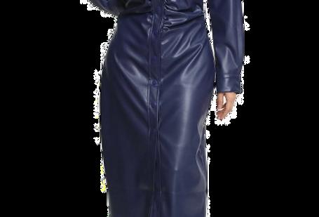 Faux Leather Midi Button Down Dress