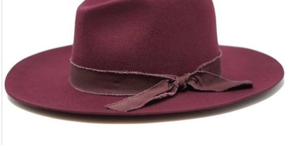 Wool Felt Panama Hat with Matching Raw Trim