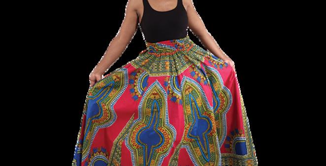 Dashiki Skirt (fuchsia)