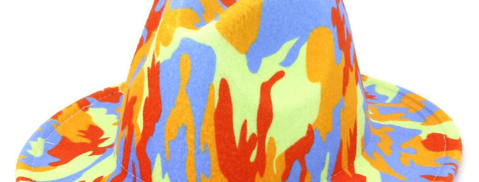 Blue/Orange/Green Tie Dye Fedora
