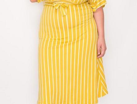 Plunging Stripe Plus Dress