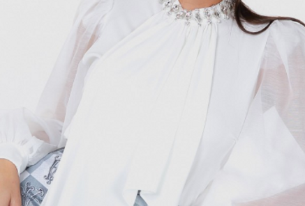 JEWELED BOW TIE NECK SHEER SLEEVE TOP