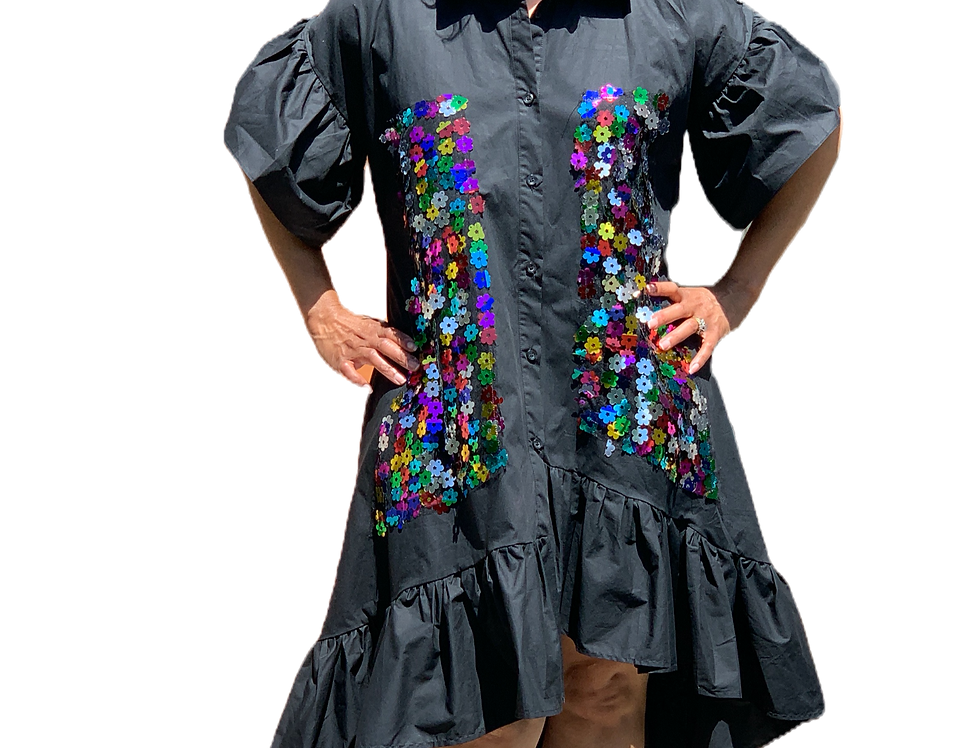 Loose Fit Sequin Ruffle Dress