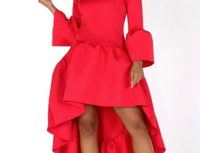 Bell Sleeve Hi-Low Dress