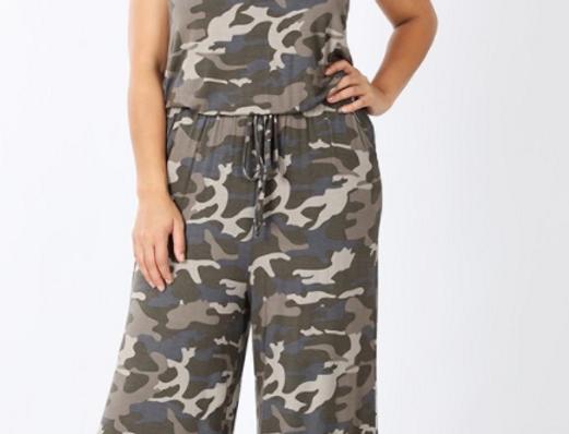 Plus Camouflage Spaghetti Strap Jumpsuit