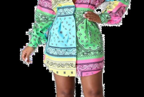 Color Block Button Down Shirt Dress