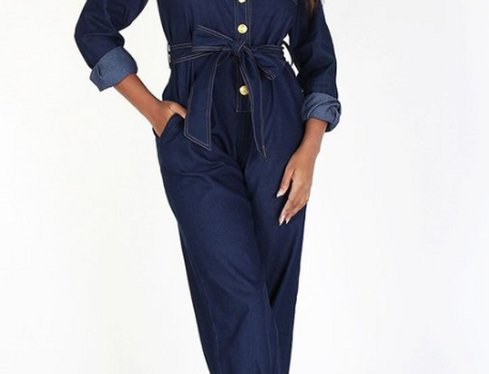 Denim Jumpsuit w/Waist Belt