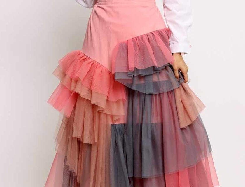 Pink Multi Tiered Skirt