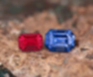 Faceted ruby and blue sapphires