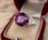 Faceted Mahenge Garnet in a custom-designed platinum and diamond ring