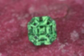 Faceted Merelani Mint Garnet, cut by Jeff White