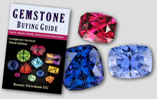 Gemstone Buying Guide, featuring mint garnet, tanzanite, pink topaz, and rubellite tourmaline