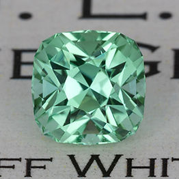 Precision-cut mint tourmaline, cut in a square cushion